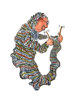 ilustración de mujer mayor tejiendo su propio vestido