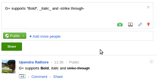 how to bold italic and strikethrough in Google Plus