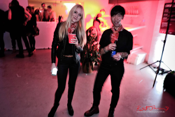 Two dudes in balck with Red Stoli neck scarfs. ORGNL.TV - Stolichnaya Vodka, Sydney Launch Party