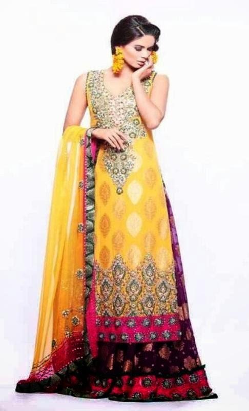 Bridal Mehndi Outfits Uk : Exclusive bridal mehndi dress collection mayoon frills