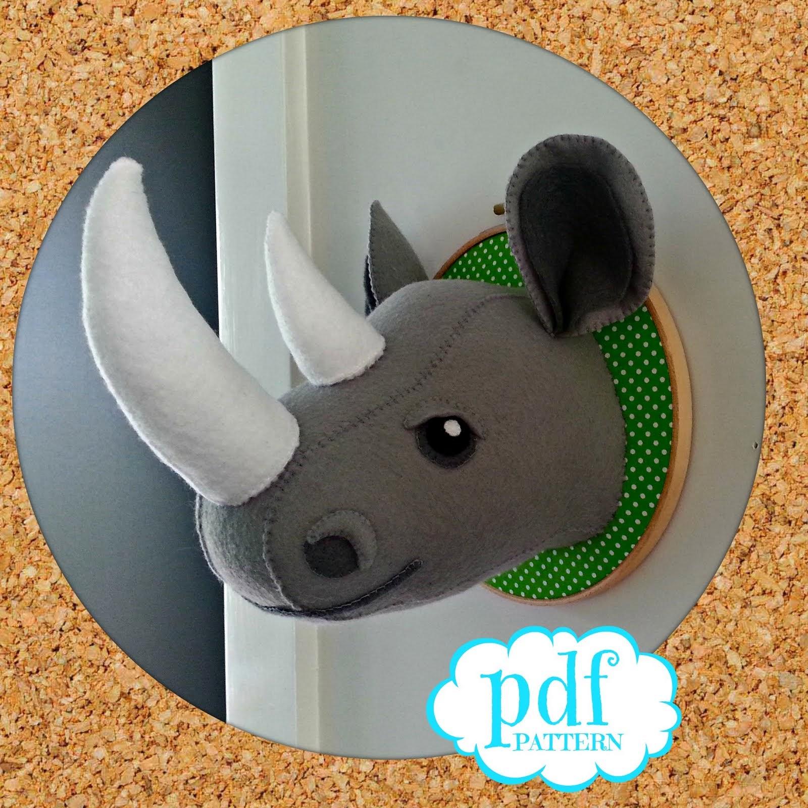 Rhino faux taxidermy pattern.