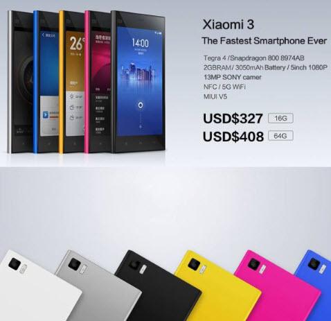 Xiaomi Mi3 chip Tegra 4 hay Snapdragon 800, 5 inch Full HD giá chỉ từ 327 USD