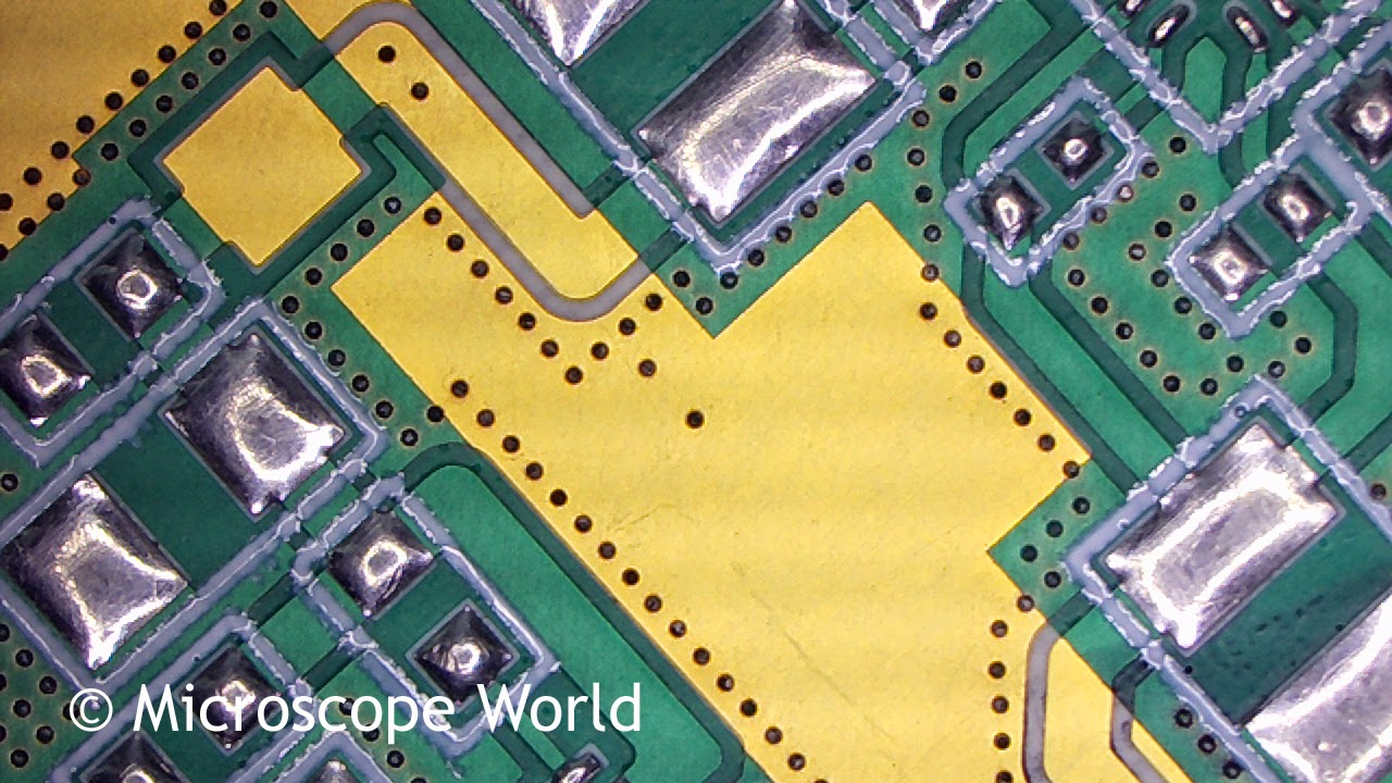 Printed Circuit board under microscope at 10x