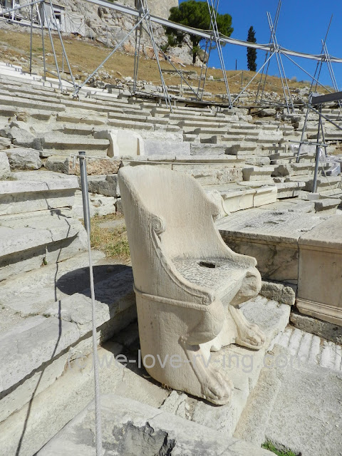 One of the very elaborate seats that was used by the priest and prominent people of Athens