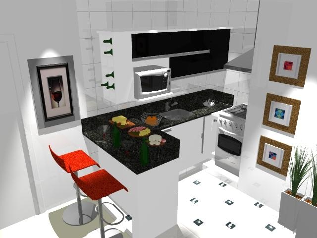 Cozinha totalmente aberta para a sala, tirando partido do balcão em