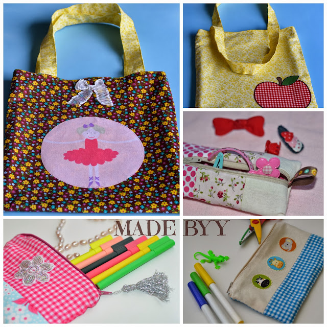 reversible bag and pencil cases by MADE BY  Y