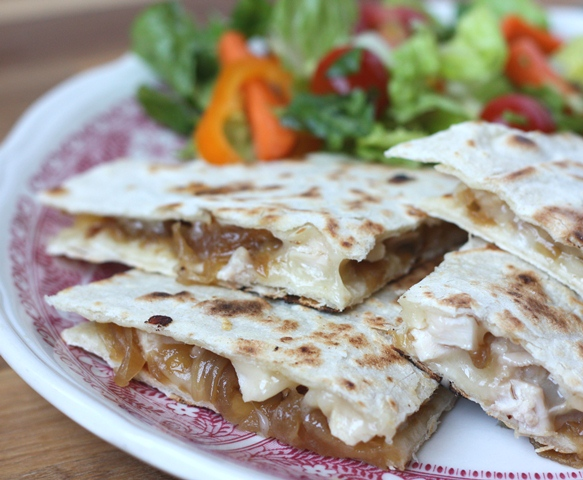 Caramelized Onion and Chicken Quesadillas recipe by Barefeet In The Kitchen