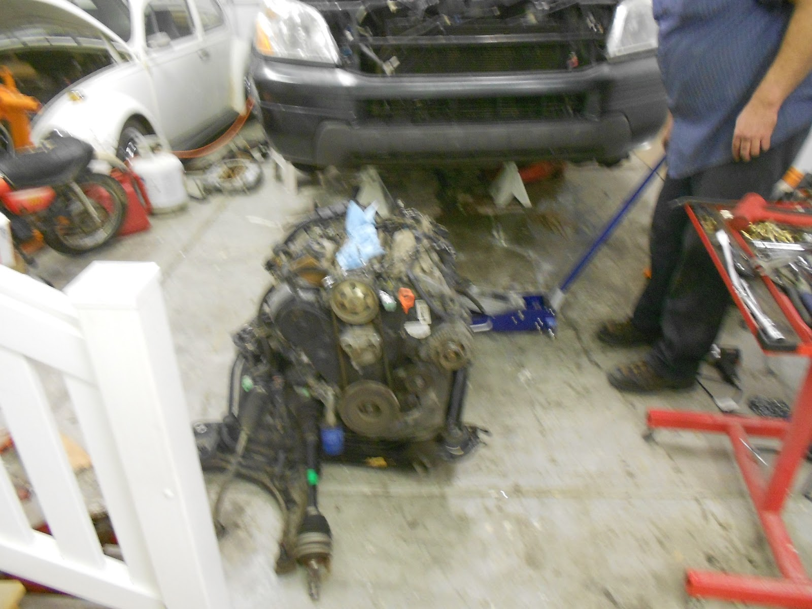 We Then Removed All The Motor Mount Bolts And Lifted The Engine And  Transmission ...