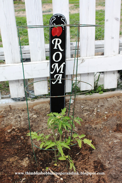 roma Guest Post: DIY Faux Chalkboard Garden Markers from Thimbles, Bobbins, Paper and Ink