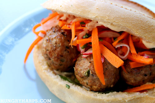 Hungry Harps: Pork Meatball Banh Mi Inspired Sandwich