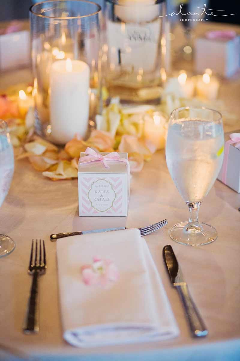pink napkin flower, blush wedding flowers