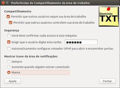 DominioTXT - Preferência de Compartilhar Área de Trabalho Linux