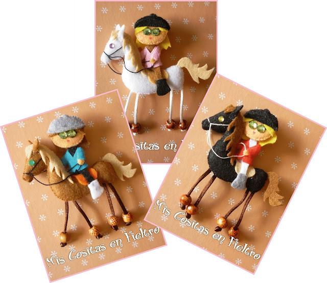 fieltro, felt,  caballo, amazona, broche