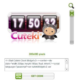 Cara Memasang Widget Jam Unik dan Lucu Cuteki di Blog