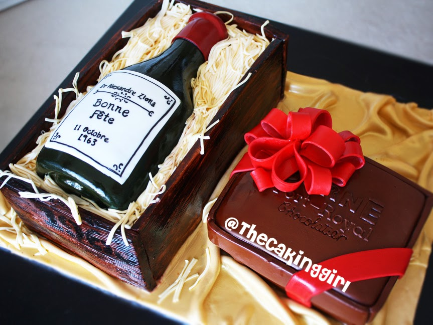 Corné Port-Royal chocolate cake, wine bottle cake