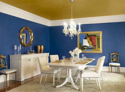 elegant blue dining room