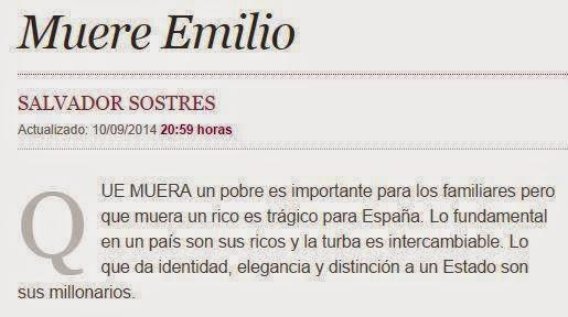 Salvador Sostres, sobre la muerte de Emilio Botín