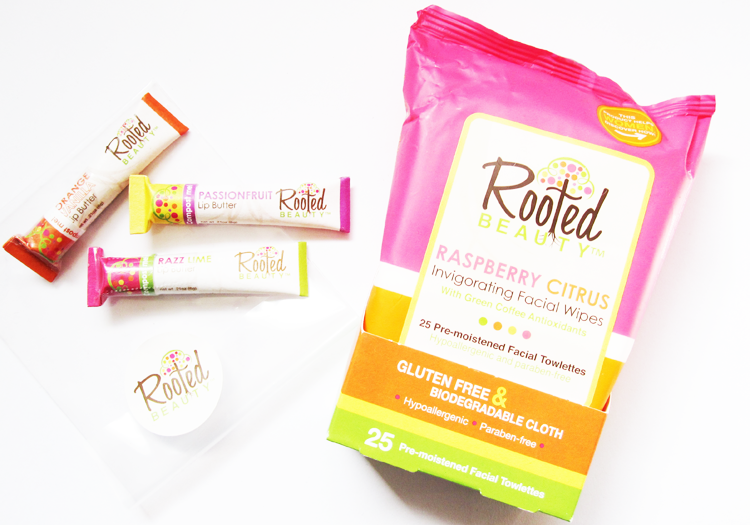 A picture of Rooted Beauty Raspberry Citrus Invigorating Facial Wipes & Passionfruit, Orange Vanilla and Razz Lime Lip Butters