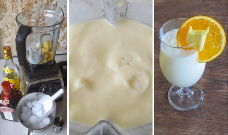 Zubereitung Ananas-Kokos-Curaçao im Vitamix