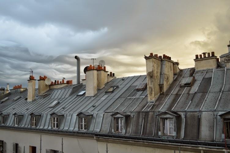 Paris, view, France, roof, chimney, střecha, výhled