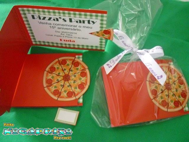 Convites Personalizados Impressos em Papel Coche - Pizza Party