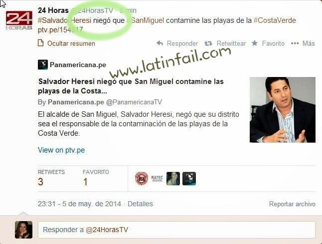 HUMOR SE DICE NIEGÓ O NEGÓ - FAIL 24 HORAS -> Salvador Heresi niegó que San Miguel contamine las playas de la Costa Verde - ERRORES ORTOGRÁFICOS