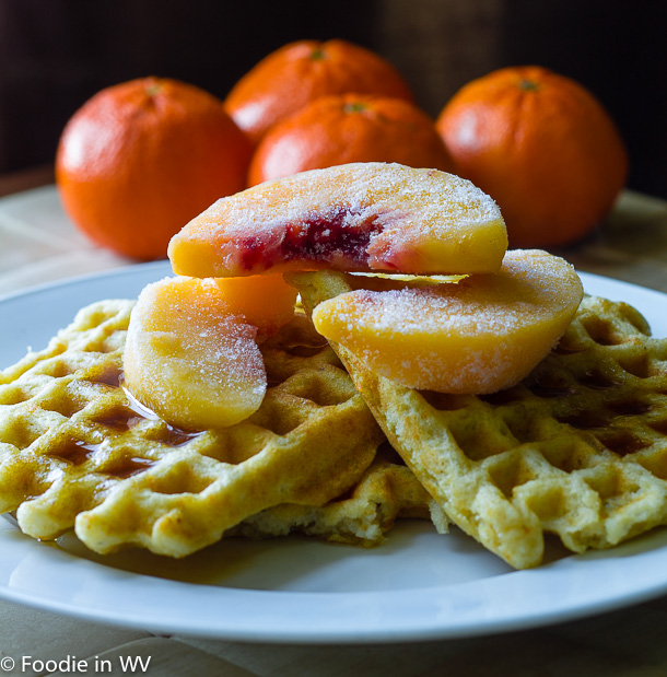 Click for Recipe for Gluten Free Georgia Grits Waffles with Peaches and Maple Syrup