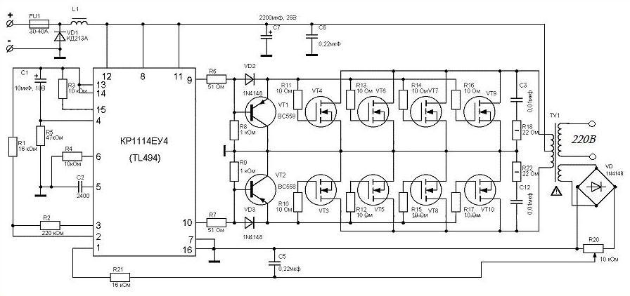 Инвертор 12-220 вольт 1000