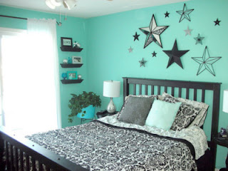 Ideas For Bedrooms Stars In Black And Turquoise