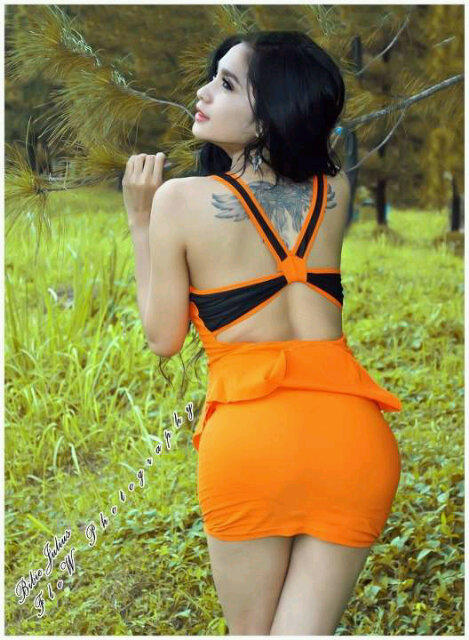 hot Bibie Julius in Orange Dress PhotoShoot (Part 1)