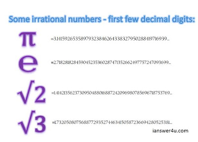 list of irrational numbers, rational and irrational numbers, examples, value of pi, value of e, value of square root of 2