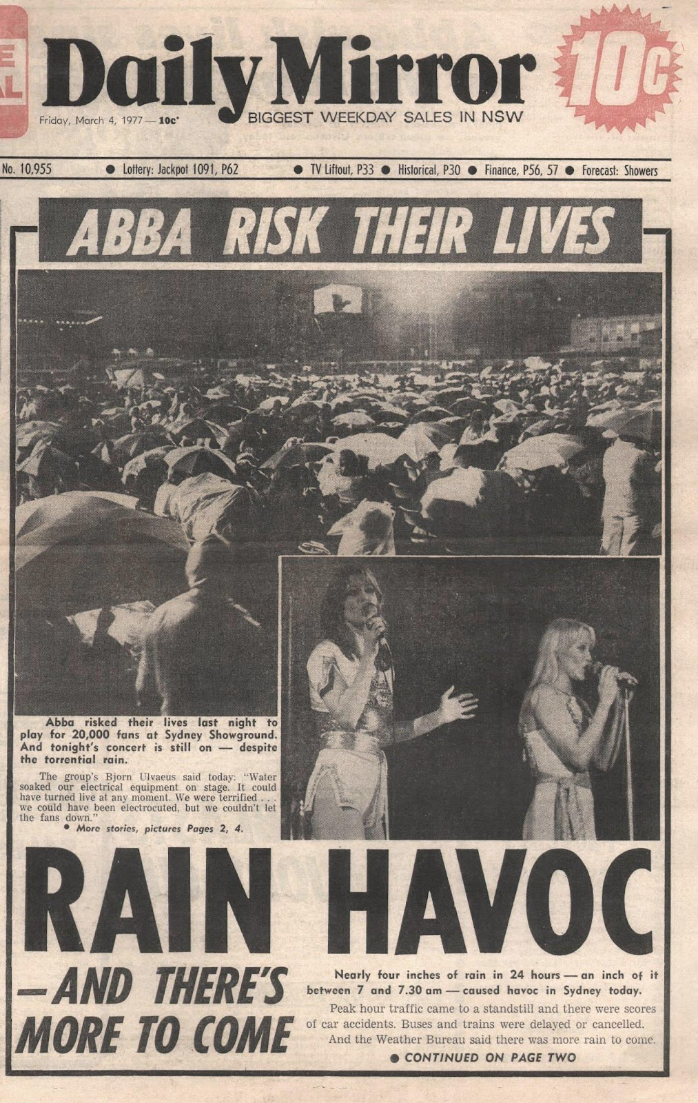Abba australian clippings for Sunday mirror