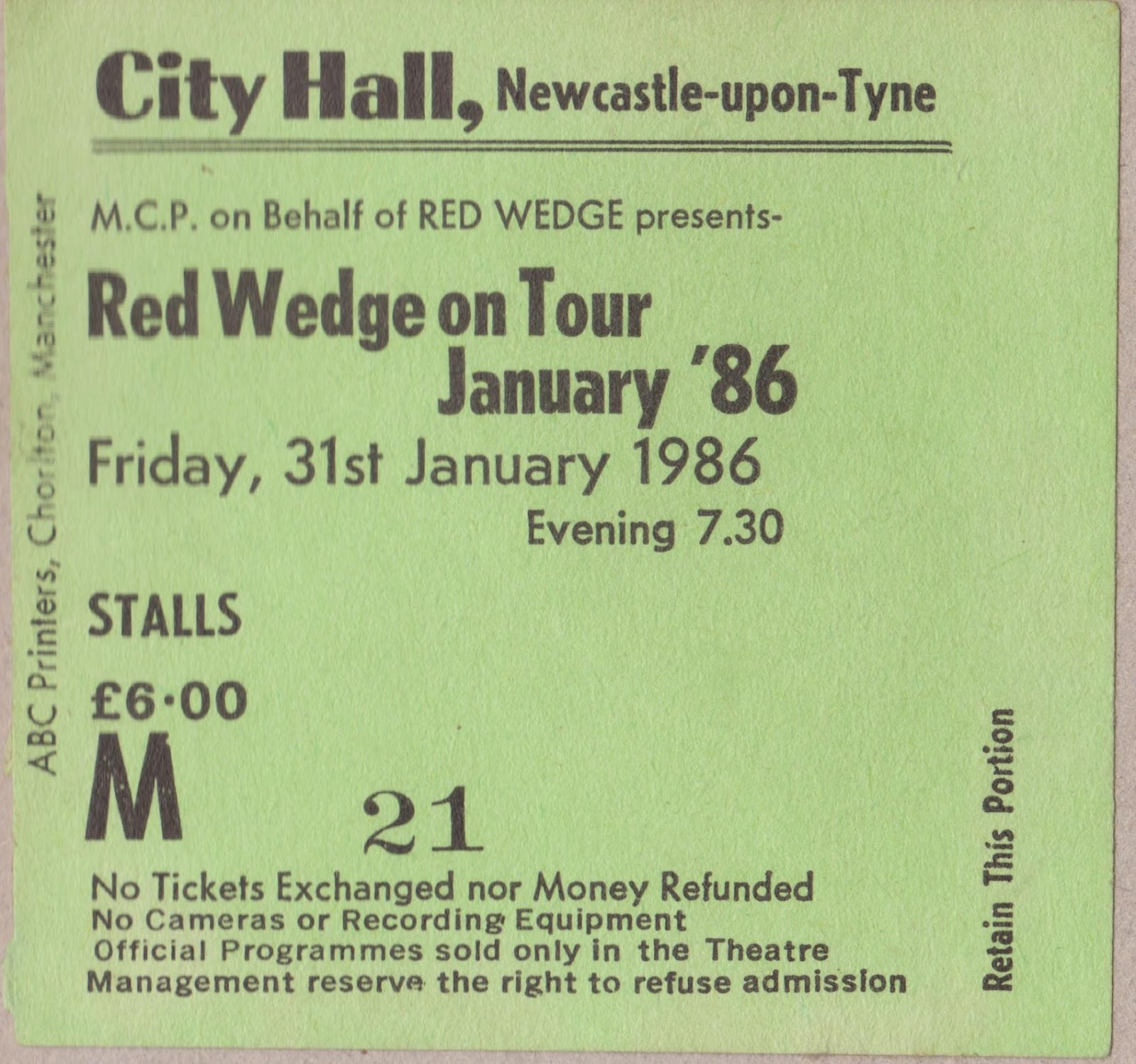 North east music history 2012 red wedge ticket newcastle city hall january 1986 photo by john hardy geenschuldenfo Choice Image