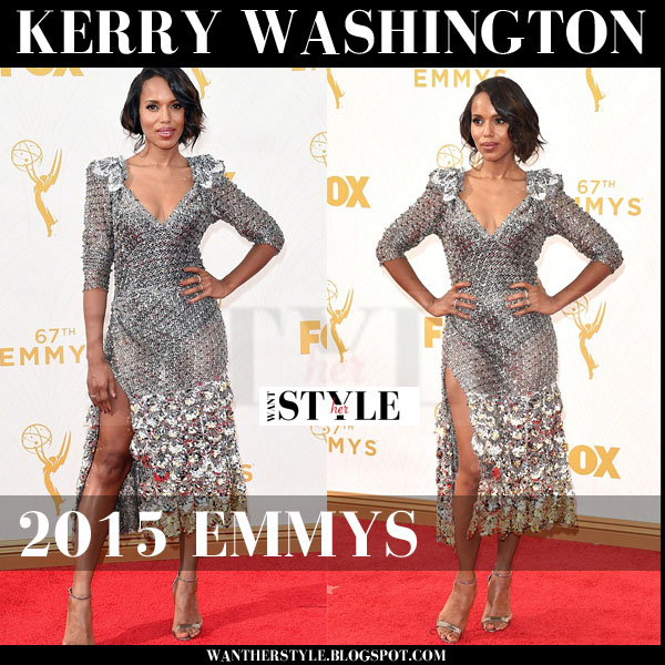 Kerry Washington in silver embellished dress Marc Jacobs 2015 emmys red carpet what she wore