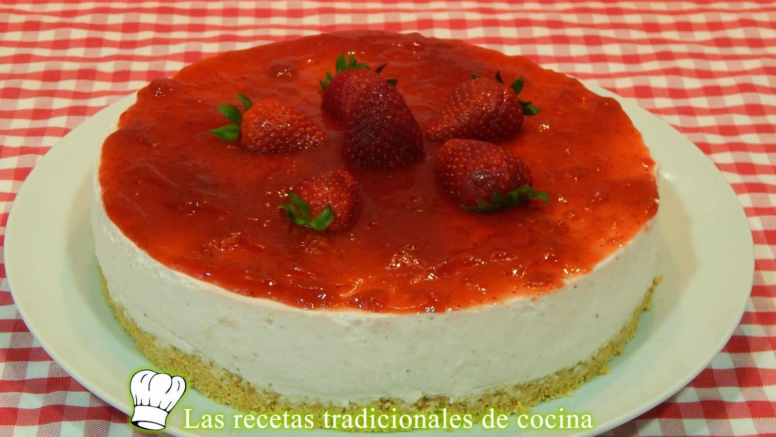 pastel de queso y fresas