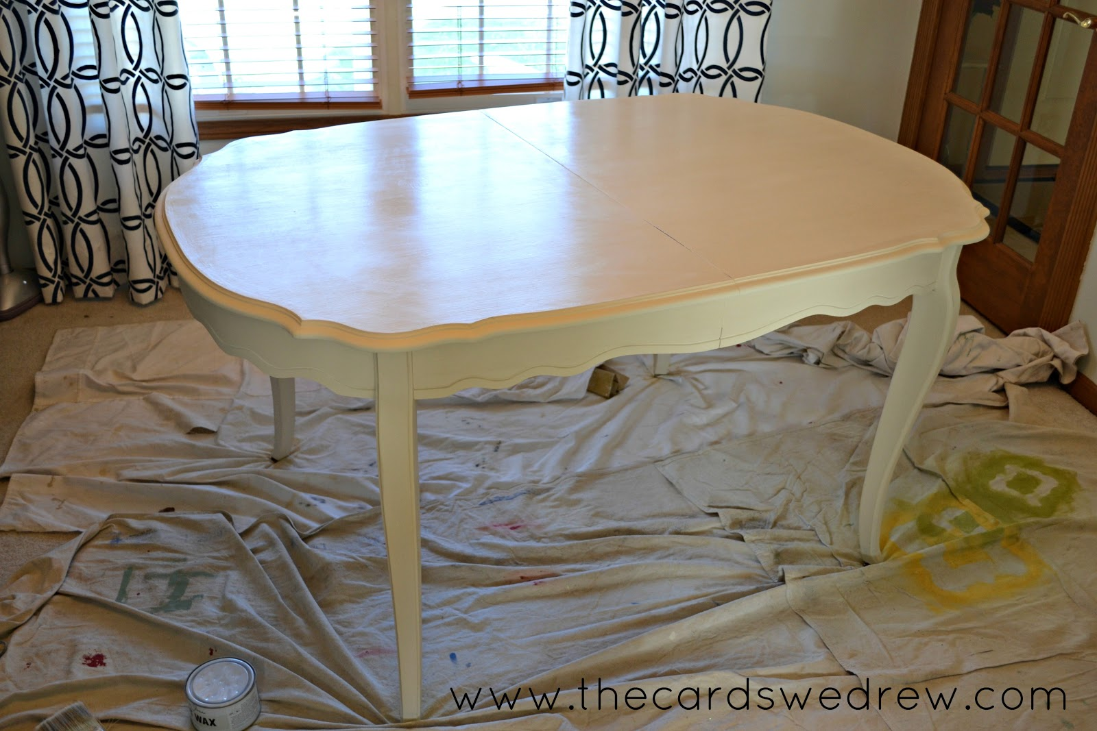 Painting Dining Room Furniture The Top And Base Took Two Coats Of Annie Sloans Old White