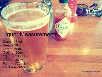 standard liquor measurements in hotels
