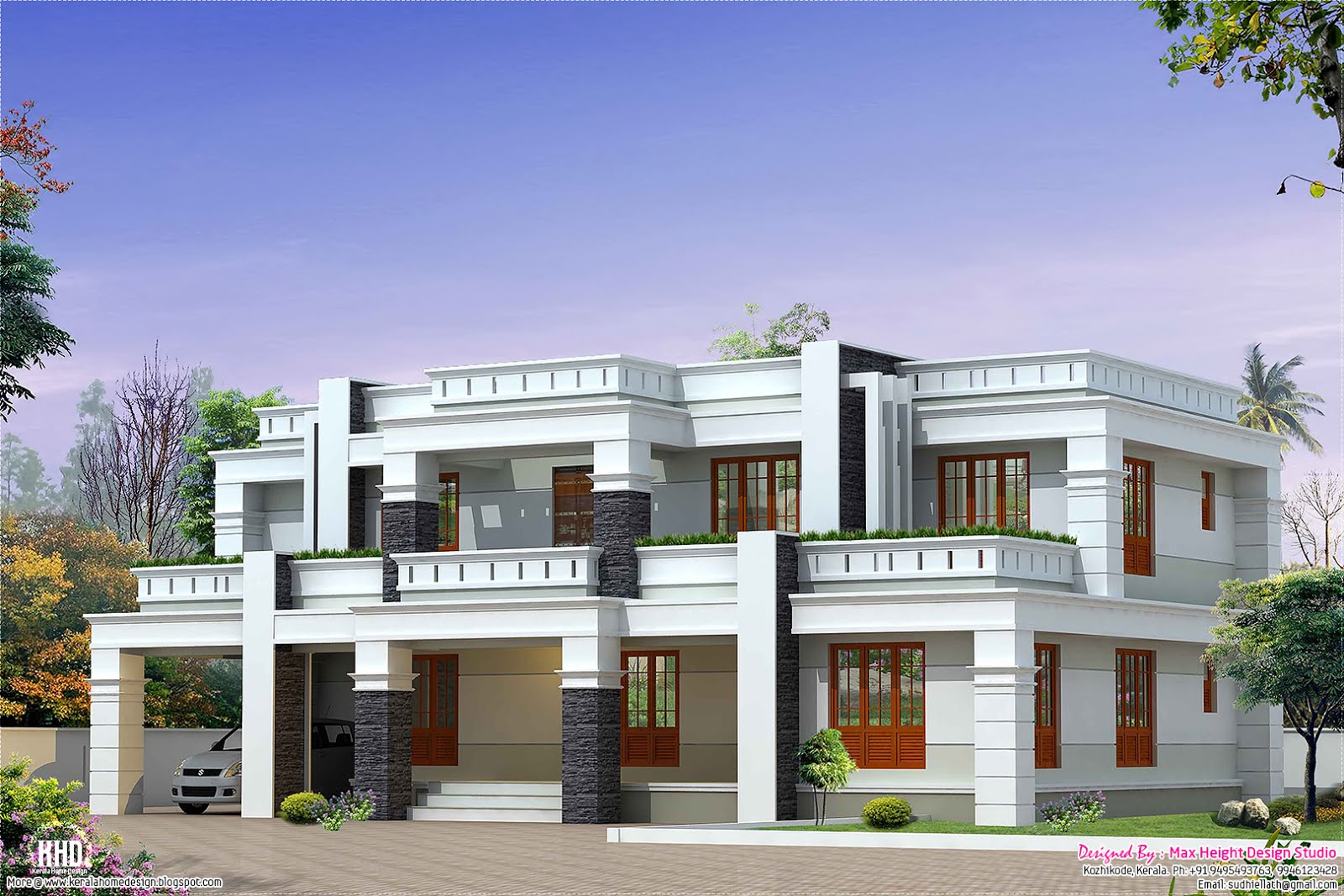 Flat roof luxury home design - Kerala home design and floor plans