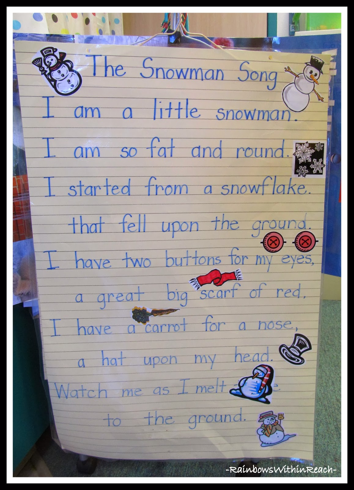 The Snowman Song Anchor Chart Poem via RainbowsWithinReach