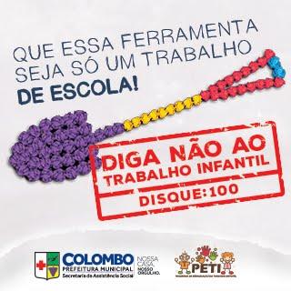 DISQUE 100 E DIGA NÃO AO TRABALHO INFANTIL