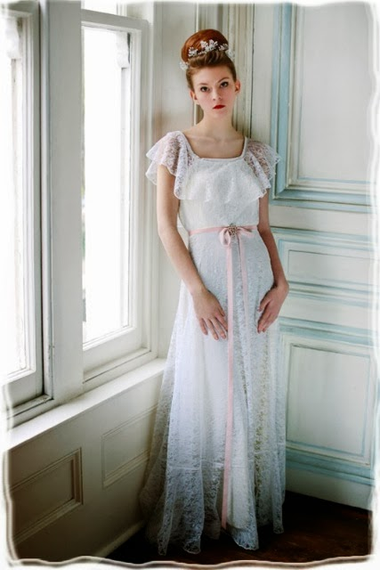 HVB vintage wedding blog, Real Vintage Brides feature - Studio picture of full length 1960s lace wedding dress