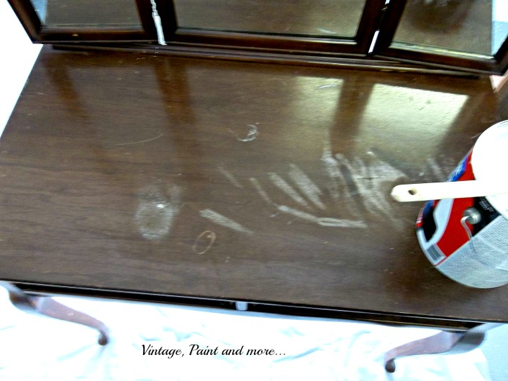 Vintage, Paint and more... water marks, scuffs and damage on vintage vanity