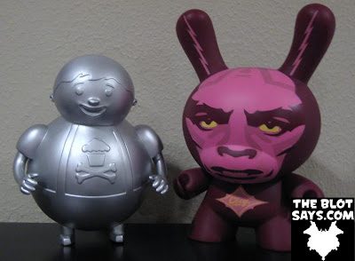 Unpainted Metallic Silver Big Kid Vinyl Figure by Johnny Cupcakes and Kidrobot Obey Giant 8 Inch Dunny by Shepard Fairey