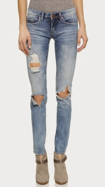 DISTRESSED SKINNY JEANS BLANK DENIM
