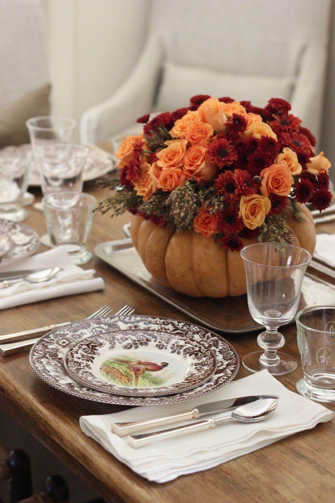 Thanksgiving Table Setting | DIY Flower Pumpkin Centerpiece Woodland China Hemstitch Linens Pewter Flatware \u0026 Rustic Glassware & Jenny Steffens Hobick: Thanksgiving Table Setting | DIY Flower ...