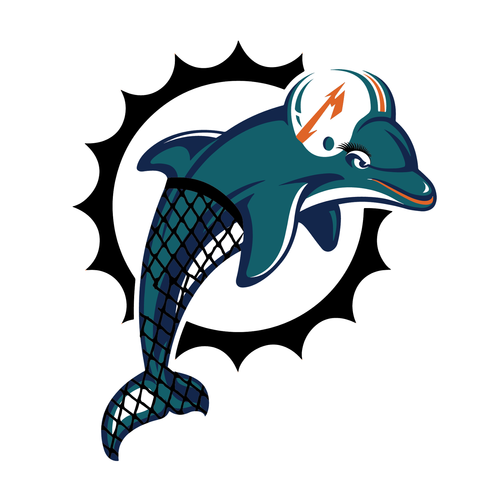 Miami Dolphins, metal, logo, re-imagined