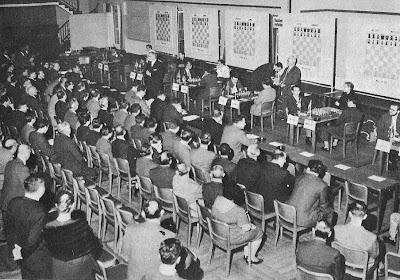 Sala de juego del Torneo Internacional de Ajedrez Zúrich 1961