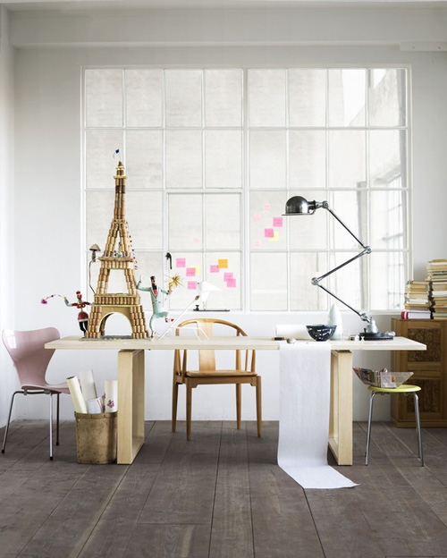 home office, white office, pink office, paris office