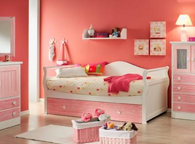 Dormitorio infantil blanca y rosa con cama nido gondola for Cama nido con cajones blanca