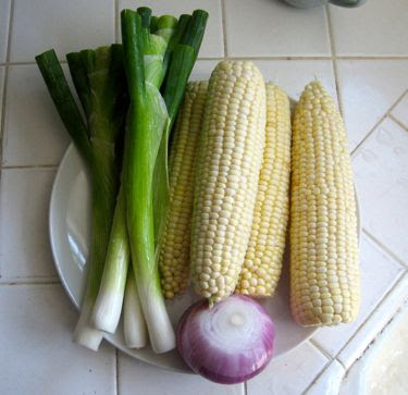 scallion, corn, and red onion, ready for grilling